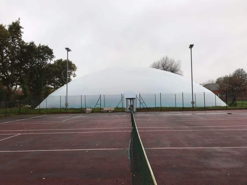 tennis court with dome